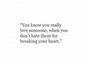 "Really Love: ""You know you really  love someone, when you  don't hate them for  breaking your heart."""