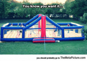 srsfunny:Epic Bouncy Volleyball Court: You know you want it..  you should probably go to TheMetaPicture.com srsfunny:Epic Bouncy Volleyball Court