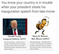Bee Movie, Memes, and Glorious: You know your country is in trouble  when your president steals his  inauguration speech from bee movie  Barry B. Benson  Donald Trump  Inaugural Address (2017)  Bee Movie (2007)  We are one colony and their pain is  We are one nation and their pain is  our pain. Their dreams are our dreams;  our pain. Their dreams are our dreams;  and their success will be our success.  and their success will be our success.  We share one heart, one home, and one  We share one heart, one hive, and one  glorious destiny.  glorious destiny. Oh god 😂😂