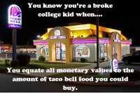 College, Food, and Taco Bell: You know you're a broke  college kid when....  TACO  BELL  Drin Theu  You equate all monetary values to the  amount of taco bell food you could  buy.