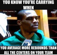 YOU KNOW YOU'RE CARRYING  WHEN  @nba memes 24  ROOT  YOU AVERAGE MORE REBOUNDS THAN  ALL THE CENTERS ON YOUR TEAM Russell Westbrook averages more rebounds than Steven Adams AND Sabonis! nbamemes nba_memes_24