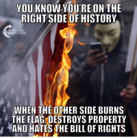 Memes, True, and History: YOU KNOW YOURE ON THE  RIGHT SIDE OF HISTORY  TURNING  POINT USA  WHEN THE OTHER SIDE BURNS  THE FLAG,DESTROYS PROPERTY  バAND HATES THE BILL OF RIGHTS So True... 👇👇👇