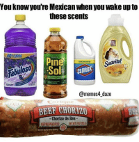 Beef, Memes, and Smell: You knowyou're Mexican when you wake up to  these scents  sO  0% MORE  In  fabiloso  Sol CORO  0  @memes4 daze  BEEF CHORIZO  - Chorizo de Res  KEEPREFRIGERATEDNETWT You know it's going to be a long day when you smell this scents on a Saturday morning 😂  Follow our new page Mexican Videos 🇲🇽
