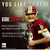 Kirk Cousins is proving that he's a legit franchise QB. 💯🔥💯: YOU LIKE THAT  KIRK  BREAKS REDSKINS RECORD FOR  PASS YARDS IN A SEASON  ONLY REDSKINS QB TO EVER  THROW ATD IN ALL 16 GAMES  br  H/T @BR INSIGHTS, SPORTSCENTER Kirk Cousins is proving that he's a legit franchise QB. 💯🔥💯