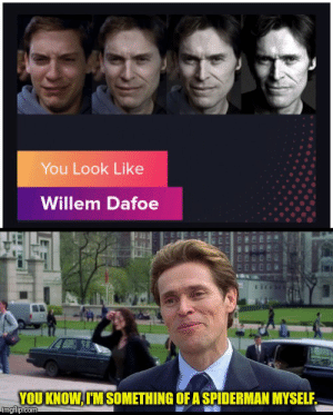 Its pizza time: You Look Like  Willem Dafoe  YOU KNOW,I'M SOMETHING OF A SPIDERMAN MYSELF  imgflp.com Its pizza time