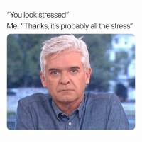 """Memes, All The, and 🤖: """"You look stressed""""  Me: """"Thanks, it's probably all the stress""""  0 😕 Follow @thepettybitch @thepettybitch @thepettybitch"""
