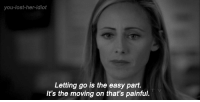 Lost, Idiot, and Her: you-lost-her-idiot  Letting go is the easy part.  It's the moving on that's painful.