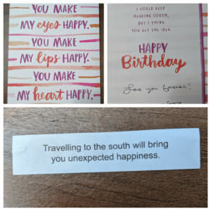 My husband got this fortune right after opening his birthday card.: YOU MAKE  I COULD KE EP  HEADING SOUTH,  MY eyes HAPPY.-  YOU MAKE  MY lips HAPPY.  YOU MAKE  MY heart HAPPY.-  BUT I THINK  YOU GET THE IDEA.  HAPPY  Birthday  Loe you Gorever!  Croose  Travelling to the south will bring  you unexpected happiness. My husband got this fortune right after opening his birthday card.