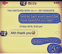 Beautiful, Tumblr, and Thank You: YOU MATCHED WITHON 13/05/2016  words cant even describe  how beautiful you are  13 May 2016, 9:23 pm  Ahh thank you  but numbers can  31 memehumor:  F's in chat