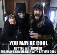 🙌🏻 😂 🍻: YOU MAY BE COOL  BUT YOU WILL NEVER BE  AQUAMAN ENJOYING BEER WITH BATMAN COOL 🙌🏻 😂 🍻