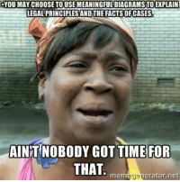 Credit: Elmer Bass: YOU MAY CHOOSE TOUSEMEANINGFULDIAGRAMSTOEXPLAIN  LEGAL PRINCIPLESANDTHE FACTS OF CASES  AINT NOBODY GOT TIME FOR  THAT  mem  erator net Credit: Elmer Bass