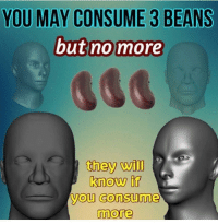 Dank Memes, May, and Will: YOU MAY CONSUME 3 BEANS  but no more  they will  know if  you consume  more