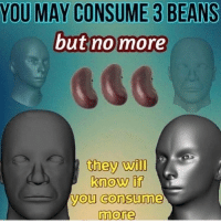 Dank Memes, May, and Will: YOU MAY CONSUME 3 BEANS  but no more  they will  know it  you consume  more
