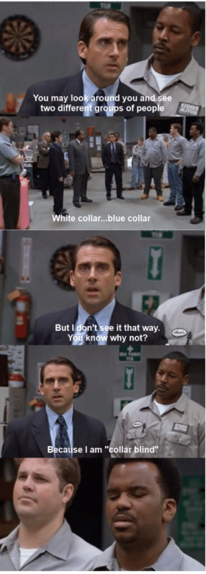 "Collar blind: You may look around you and see  two different groups of people  White collar...blue collar  But I don't see it that way.  You know why not?  Because I am ""collar blind"" Collar blind"