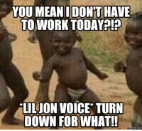 what what: YOU MEAN DONT HAVE  TO WORK TODAY  LILION VOICE TURN  DOWN FOR WHAT!!  memes. COM
