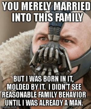 Tipsy brother-in-law ranted to me about my familys holiday traditions at New Years.: YOU MERELY MARRIED  INTO THIS FAMILY  BUTI WAS BORN IN IT,  MOLDED BYIT I DIDN'T SEE  REASONABLE FAMILY BEHAVIOR  UNTIL I WAS ALREADYA MAN  mgflip.com Tipsy brother-in-law ranted to me about my familys holiday traditions at New Years.