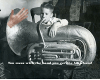 "Reddit, Band, and The Band: You mess with the band you get the backhand <p>[<a href=""https://www.reddit.com/r/surrealmemes/comments/7x4qc6/gimme_smack/"">Src</a>]</p>"