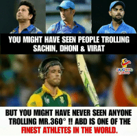 #ViratKohli #AbDeVilliers #MSDhoni #SachinTendulkar #AbDeVilliersRetirement: YOU MIGHT HAVE SEEN PEOPLE TROLLING  SACHIN, DHONI&VIRAT  AUGHING  BUT YOU MIGHT HAVE NEVER SEEN ANYONE  TROLLING MR.360° ! ABD IS ONE OF THE  FNEST ATHLETES IN THE WORLD #ViratKohli #AbDeVilliers #MSDhoni #SachinTendulkar #AbDeVilliersRetirement