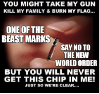 ~ By Ded Silence: YOU MIGHT TAKE MY GUN  KILL MY FAMILY & BURN MY FLAG...  ONE OF THE  BEAST MARKS  SAY NO TO  THE NEW  WORLD ORDER  BUT YOU WILL NEVER  GET THIS CHIP IN ME!  JUST SO WERE CLEAR.... ~ By Ded Silence