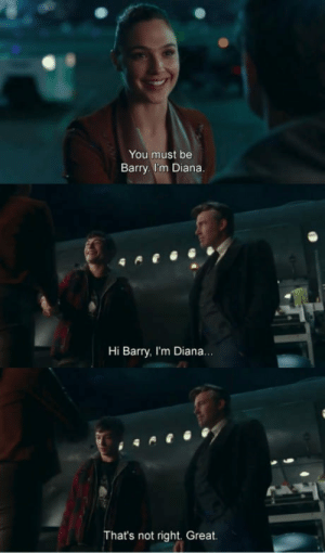 Flash plz: You must be  Barry. I'm Diana  Hi Barry, I'm Diana  That's not right. Great Flash plz
