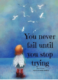 Fail, Memes, and Einstein: You never  fail until  you stop  trying  Aibert Einstein  FB/YOUR INNER SPARKLE