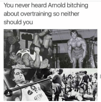 Gym, Link, and Never: You never heard Arnold bitching  about overtraining so neither  should you Shots fired 🔫🔫🔫 . @DOYOUEVEN 👈🏼 10% OFF STOREWIDE (use code DYE10 ✔️ tap the link in our BIO 🎉