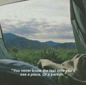 "youll see: ""You never know the last time you'll  see a place. Or a person."""