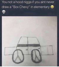 "Me asf 🤣😂😂🤣: You not a hood nigga if you aint never  draw a ""Box Chevy"" in elementary Me asf 🤣😂😂🤣"