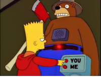 """Memes, 🤖, and Forest: YOU  O ME """"Only who can prevent forest fires? . . . You pressed 'You', referring to me. That is incorrect. The correct answer is you."""" – Robotic Smokey the Bear"""