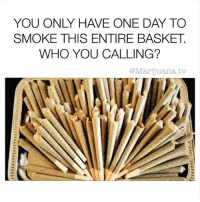 Who you got 🤔: YOU ONLY HAVE ONE DAY TO  SMOKE THIS ENTIRE BASKET  WHO YOU CALLING?  @Marijuana.tv Who you got 🤔