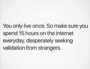 Internet, True, and Live: You only live once. So make sure you  spend 15 hours on the internet  everyday, desperately seeking  validation from strangers. So true 💯