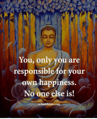 Buddhism: You, only you are  responsible for your  own happiness.  No one else is!  e-buddhism com