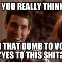 Dumb: YOU REALLY THINK  THAT DUMB TO VO  YES TO THIS SHIT