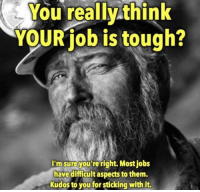 Memes, Jobs, and Tough: You really think  YOUR job is tough?  I'm sure you're right. Most jobs  have difficult aspects to them.  Kudos to you for sticking with it. https://t.co/CaDiP0q6I5