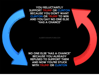 """Break the cycle. Vote for Gary Johnson.: YOU RELUCTANTLY  SUPPORT  TRUMP  OR  CLINTON  BECAUSE YOU DON'T WANT  CLINTON  OR TRUMP  TO WIN  AND YOU SAY NO ONE ELSE  """"HAS A CHANCE""""  ALIBERTARIANFUTURE.COM  NO ONE ELSE """"HAS A CHANCE""""  BECAUSE YOU ALREADY  REFUSED TO SUPPORT THEM  AND NOW YOURE STUCK  WITH  TRUMP  OR  CLINTON Break the cycle. Vote for Gary Johnson."""
