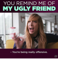 Doppelganger, Memes, and Ugly: YOU REMIND ME OF  MY UGLY FRIEND  - You're being really offensive.  CH It's fun to have an office doppelgänger!