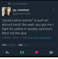 """Justice Warrior: You Retweeted  jay, resistant  @jaythenerdkid  .  """"social justice warrior"""" is such an  absurd insult, like yeah, you got me,  fight for justice in society, sick burn,  fetch me the aloe  7:29 AM 25 Feb 17 from Townsville, Queensland  124 RETWEETS 246 LIKES"""