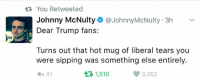 Memes, Something Else, and 🤖: You Retweeted  Johnny McNulty @Johnny McNulty 3h v  Dear Trump fans:  Turns out that hot mug of liberal tears you  were sipping was something else entirely.  h 41  3,262  t 1,510 This wins the internet today!