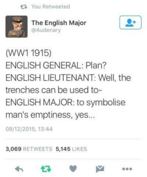 An English General, Lieutenant and Major walk into a bar: You Retweeted  The English Major  @Audenary  (WW1 1915)  ENGLISH GENERAL: Plan?  ENGLISH LIEUTENANT: Well, the  trenches can be used to-  ENGLISH MAJOR: to symbolisee  man's emptiness, yes...  08/12/2015, 13:44  3,069 RETWEETS 5,145 LIKES  わ ロッ An English General, Lieutenant and Major walk into a bar