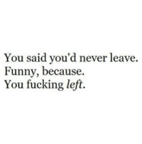 Fucking, Funny, and Never: You said vou'd never leave.  Funny, because.  You fucking left.