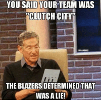 """Cute, Nba, and Blazers: YOU SAID YOUR TEAM WAS  CLUTCH CITY  @NBAMEMES  THE BLAZERS DETERMINED THAT  WAS A LIE! """"Clutch City""""? That's CUTE! #Trailblazers #Rockets Credit: John Rances"""