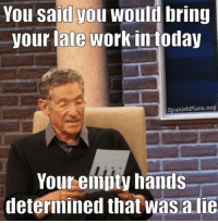 Maury, Meme, and Work: You saiil you would bring  your late work in today  SpanishPlans.org  Your empty hands  etermined that was aie You said you would bring in your late work today, your empty hands determined that was a lie. Maury Lie Detector Meme for Teachers