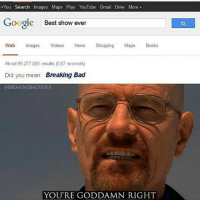 Credits: @breakingbadfever BreakingBad: +You Search Images Maps Play YouTube Gmail Drive More -  Google  Best show ever  Web Images Videos News Shopping Maps Books  About 98,277,000 results (0.57 seconds)  Did you mean: Breaking Bad  @BREAKINGBADFEVER  YOU'RE GODDAMN RIGHT Credits: @breakingbadfever BreakingBad
