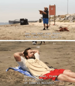 """Chris Christie and his assistant enjoying a New Jersey beach closed off from the public: you see that sign there  that says """"Toxic Spill?  Disregard that, Frank  It's a bunch  of liberal bul11shit. Chris Christie and his assistant enjoying a New Jersey beach closed off from the public"""