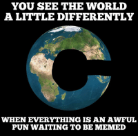 Motivational poster for useless memers: YOU SEE THE WORLD  A LITTLE DIFFERENTLY  WHEN EVERYTHING ISAN AWFUL  PUN WAITING TO BE MEMED Motivational poster for useless memers
