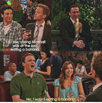Hello, Memes, and Banana: You/see, young Marshall  was at the zoo  eating a banana.  8  howimetyourmotherthefanpa  ins  No, I wasn't eating a banan {5x19} Hello everyone😊👋🏻 -- Scene requested by @coop_lord himym howimetyourmother sitcom barneystinson neilpatrickharris marshalleriksen jasonsegel