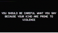 Be Careful, You, and What: YOU SHOULD BE CAREFUL WHAT YOU SAY  BECAUSE YOUR KIND ARE PRONE TO  VIOLENCE