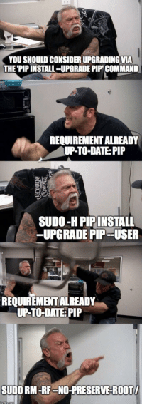 You don't need to update if it doesn't exist: YOU SHOULD CONSIDER UPGRADING VIA  THE 'PIP INSTALL-UPGRADE PIP COMMAND  REQUIREMENT ALREADY  UP-TO-DATE: PIP  SUDO-H PIPINSTALL  -UPGRADE PIP - -USER  REQUIREMENT ALREADY  UP-TO-DATE: PIP  SUDO RM-RF-NO-PRESERVE-ROOT You don't need to update if it doesn't exist