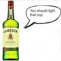 Irish, Memes, and Fight: You should fight  that cop  JAMESON  IRISH WHISKEY Sshhhh Jamo not tonight ftp whenbaewhispersinyourear