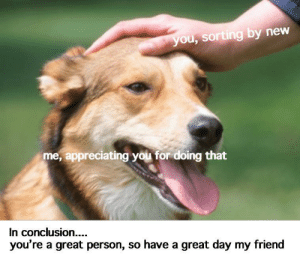 Thank You, Friend, and Day: you, sorting by new  me, appreciating you for doing that  In conclusion....  you're a great person, so have a great day my friend Thank you for doing that